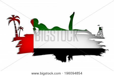 Young woman sunbathing on a beach. Cutout silhouette of the relaxing girl on a grunge brush stroke. Palm and lifeguard tower. Flag of the United Arab Emirateson backdrop. 3D rendering.