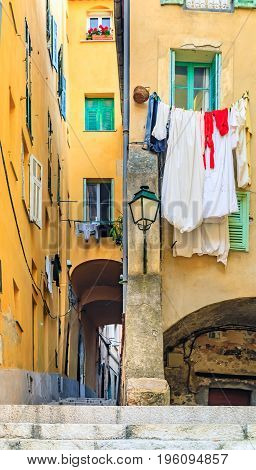 Streets In The Old Town Of Menton On The French Riviera