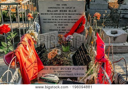 Grave Of The First Rugby Player William Webb Ellis In City Of Menton On The French Riviera