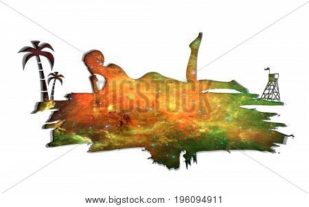 Young woman sunbathing on a beach. Cutout silhouette of the relaxing girl on a grunge brush stroke. Palm and lifeguard tower. Elements of this image furnished by NASA. 3D rendering.