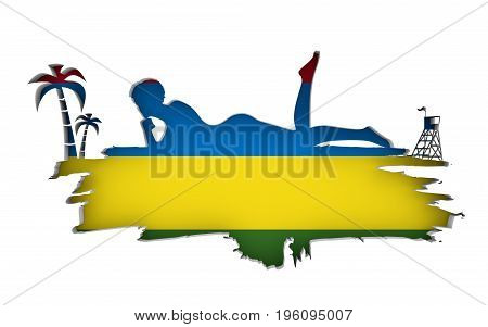 Young woman sunbathing on a beach. Cutout silhouette of the relaxing girl on a grunge brush stroke. Palm and lifeguard tower. Flag of the Mauritius on backdrop. 3D rendering.
