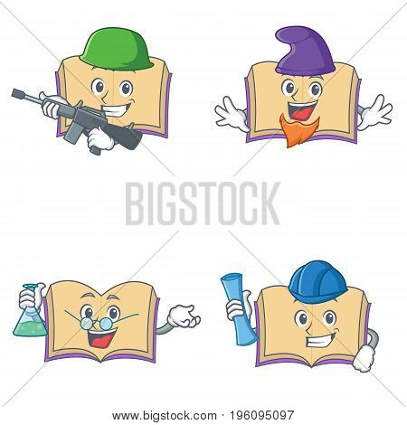 Set of open book character with army elf professor architect vector illustration