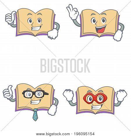Set of open boook character with proud okay businessman hero vector illustration