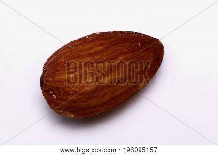 An almond appears on a white background isolated.