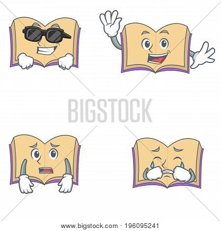 Set of open book character with cool waving afraid crying vector illustration