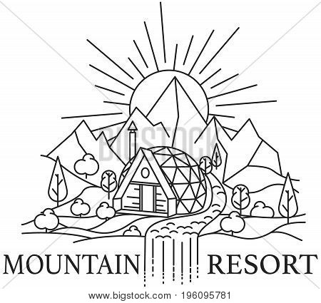 Line art of mountain landscape with Dome house and river on rocks background and rising sun. Vector illustration