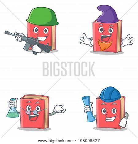 Set of red book character with army elf professor architect vector illustration