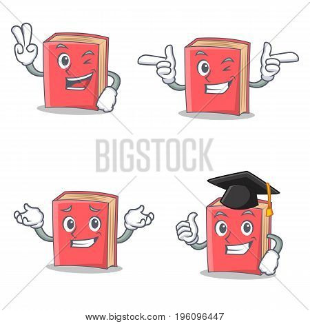 Set of red book character with two finger wink graduation vector illustration