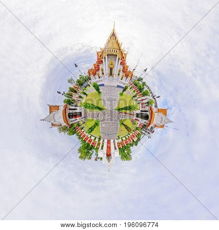 360 Panorama of Wat Benchamabophit Dusitwanaram public landmark in Bangkok / circle panorama of Thai temple public landmark