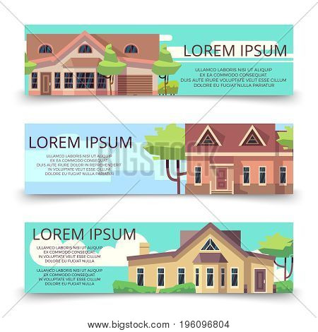 Property advertising horizontal banners template with flat style houses. Banner with home illustration vector