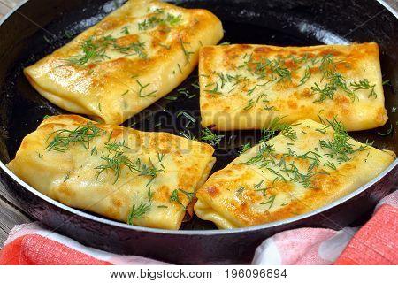 Tasty Mozzarella Stuffed Crepes Wraps, Close-up