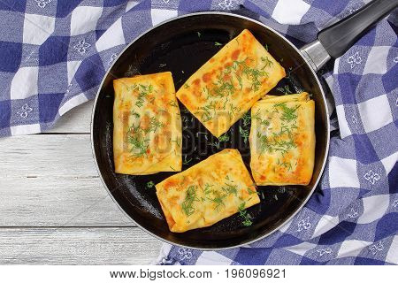 Cheese And Greens Stuffed Crepes Wraps