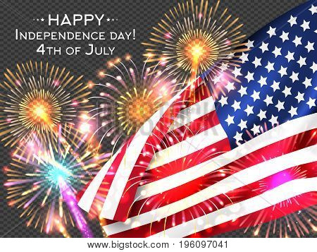 USA Independence day poster with firework and flag. Vector illustration