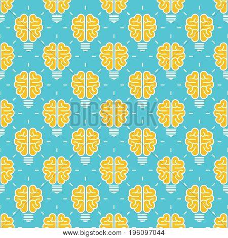 Big idea pattern design - seamless pattern with brain like lamp. Vector illustration