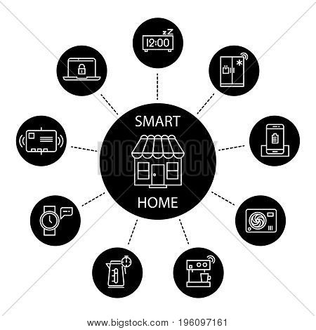 Smart home concept with thin line icons. Home technology electronic system illustration