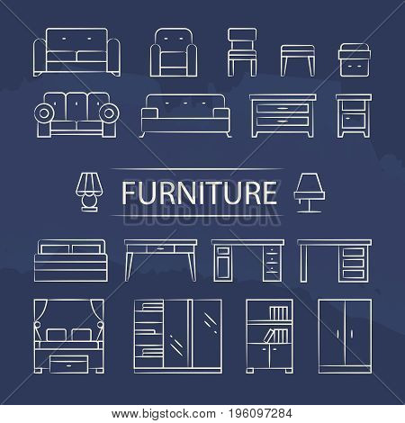 Living room furniture and table lamps line icons set. Design interior lamp table and sofa, vector illustration