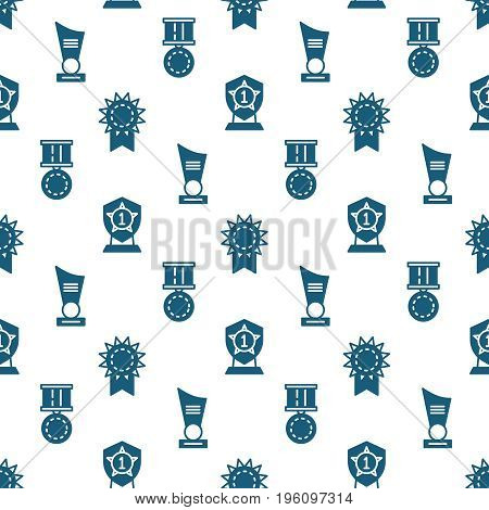Awards, trophy and prizes seamless pattern - winner seamless texture. Vector illustration