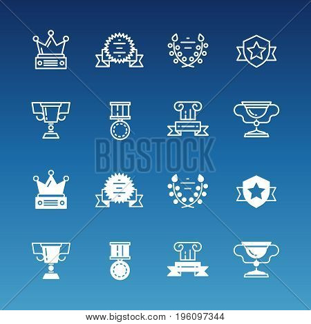 Trophy, prizes, awards line and outline icons collection. Vector illustration