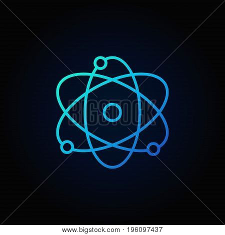 Atom blue icon. Vector atomic energy concept colorful outline sign on dark background