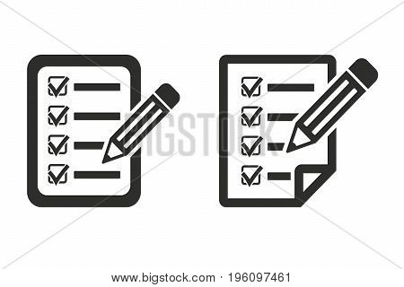Application form icon. Black illustration isolated on white background for graphic and web design.