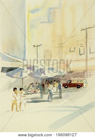 Watercolor painting original colorful of market town changmai Thailand in the morning and emotion in building stores background