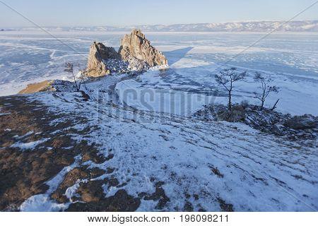 Rock Shamanka. Cape Burhan. Lake Baikal, Winter Landscape