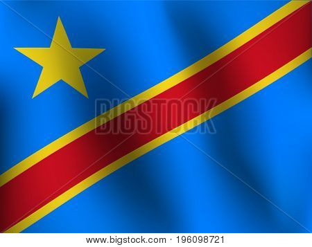 Flag of Congo with a little Waving Shading & Flag Colors separated layers - Vector Illustration
