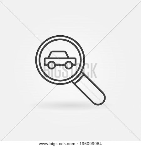 Car in magnifying glass icon - vector car search concept symbol or design element in thin line style