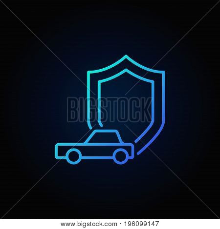 Shield with car icon - vector car insurance concept blue sign on dark background