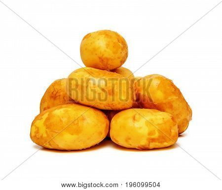 Few raw potatoes isolated on white background