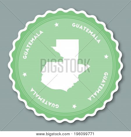 Guatemala Sticker Flat Design. Round Flat Style Badges Of Trendy Colors With Country Map And Name. C