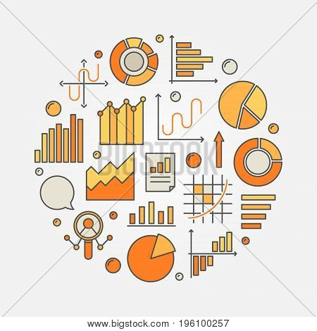 Data analytics concept illustration. Vector round colorful symbol made with graph, chart and diagram icons