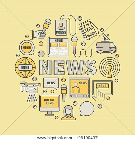 News broadcasting colorful illustration. Vector round concept symbol made with creative icons and word NEWS on yellow background