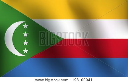 Flag of Comoros with a little Waving Shading & Flag Colors separated layers - Vector Illustration