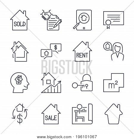 Real Estate Thin Line Art Icons Set. Residential And Commercial Building Deals. Linear Style Symbols
