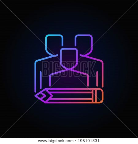 Bloggers concept colorful icon - vector group of people with pencil concept sign or logo element on dark background