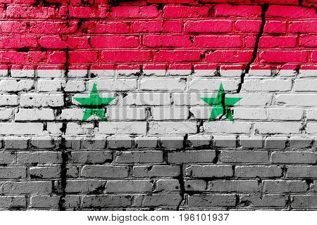Syrian Flag Painted On A Brick Wall. Flag Of Syria. Textured Abstract Background