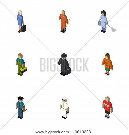 Isometric Human Set Of Detective, Officer, Lady And Other Vector Objects