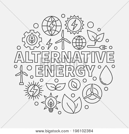 Alternative energy round illustration - vector circular symbol made with solar, water, wind power icons in thin line style