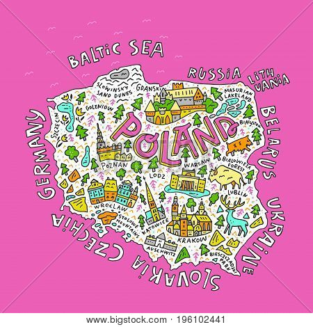 Cartoon Map of Poland. Hand drawn illustration with all main symbols and lettering.
