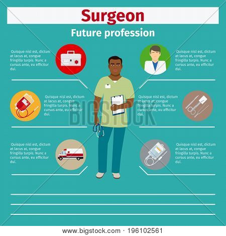 Future profession surgeon infographic for students, vector illustration