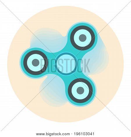 Blue vector moving fidget finger spinner symbol on orange background. Fashionable stress-relieving toy symbol for design badges labels banners logotypes