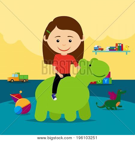 A girl riding a rubber toy surrounded by toys in a kindergarten. Vector illustration