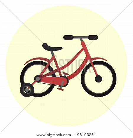 Flat red kids four wheels bicycle with two big and two small wheels icon. Nice colorful vector children transport symbol. Quadro scooter bike