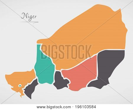 Niger Map With States And Modern Round Shapes