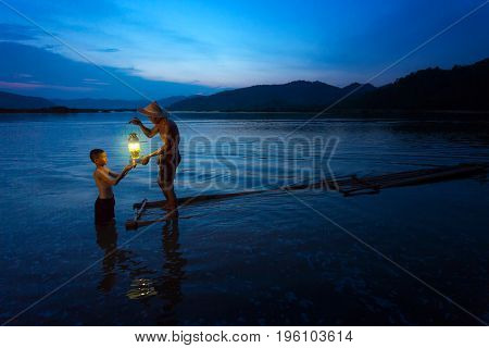 Fisherman give the illuminated lantern to their nephew from generation to generation.