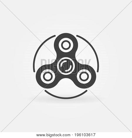 Hand triple spinner minimal icon - vector fidget spinner symbol