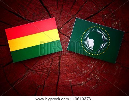 Bolivian Flag With African Union Flag On A Tree Stump Isolated