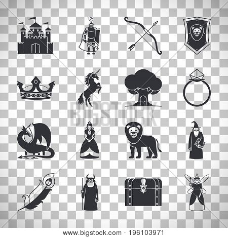 Fairytale icons or fantasy icons. Castle and sword, knight and princess, dragon and crown isolated on transparent background