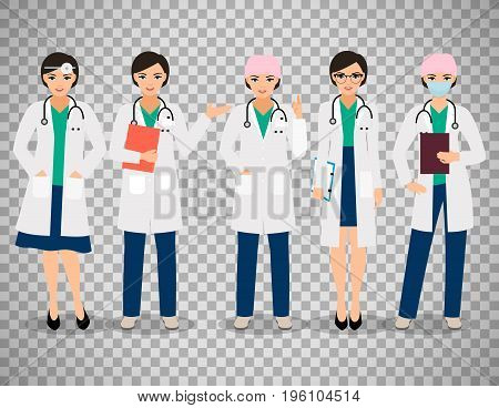 Vector female doctor or smiling woman pharmacist poses isolated on transparent background